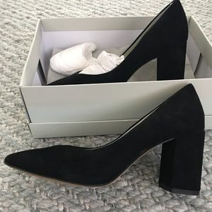 1.State Saffy black suede chunky heels